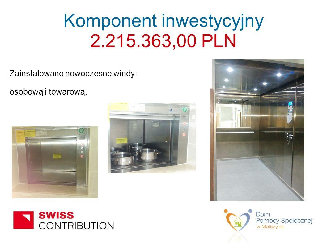 Zainstalowano nowoczesne windy: osobową i towarową. Komponent inwestycyjny 2.215.363,00 PLN