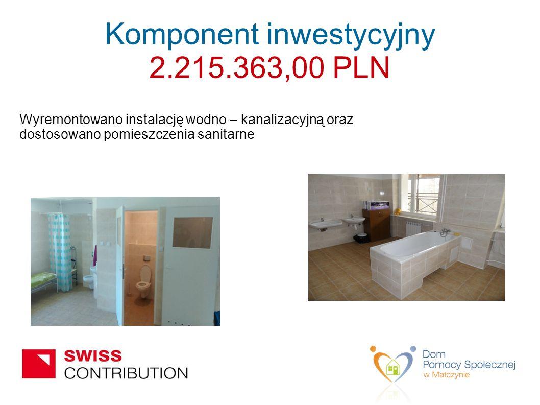 Wyremontowano instalację wodno – kanalizacyjną oraz dostosowano pomieszczenia sanitarne Komponent inwestycyjny 2.215.363,00 PLN