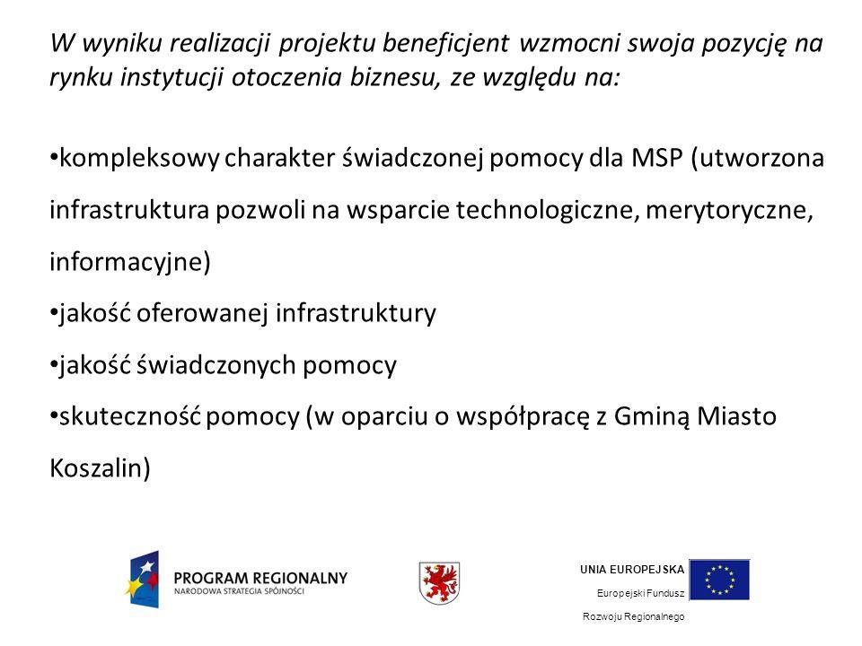 W wyniku realizacji projektu beneficjent wzmocni swoja pozycję na rynku instytucji otoczenia biznesu, ze względu na: kompleksowy charakter świadczonej pomocy dla MSP (utworzona infrastruktura pozwoli na wsparcie technologiczne, merytoryczne, informacyjne) jakość oferowanej infrastruktury jakość świadczonych pomocy skuteczność pomocy (w oparciu o współpracę z Gminą Miasto Koszalin) UNIA EUROPEJSKA Europejski Fundusz Rozwoju Regionalnego