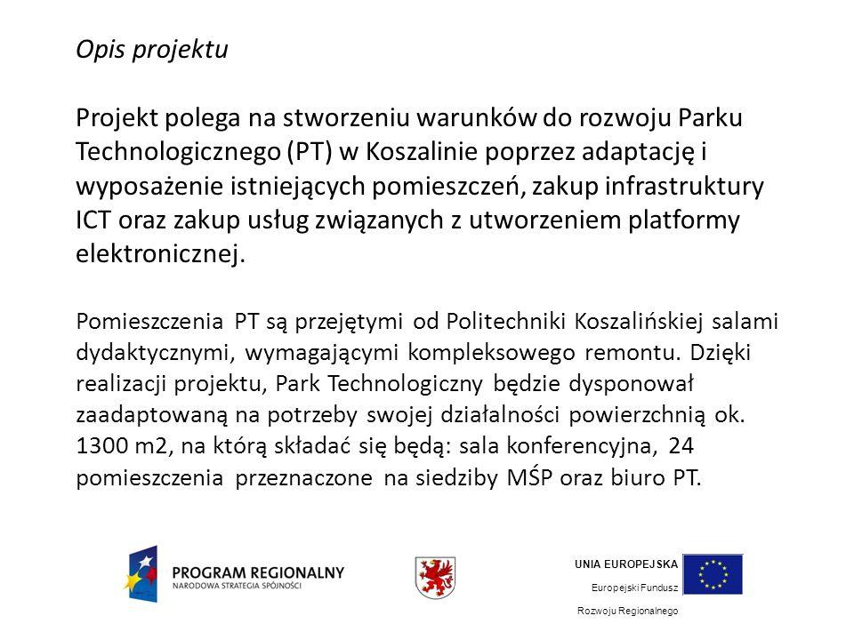 UNIA EUROPEJSKA Europejski Fundusz Rozwoju Regionalnego GMINA MIASTO KOSZALIN POLITECHNIKA KOSZALIŃSKA