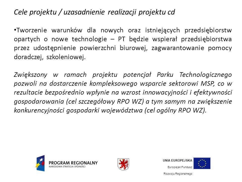 Cele projektu / uzasadnienie realizacji projektu cd Tworzenie warunków dla nowych oraz istniejących przedsiębiorstw opartych o nowe technologie – PT będzie wspierał przedsiębiorstwa przez udostępnienie powierzchni biurowej, zagwarantowanie pomocy doradczej, szkoleniowej.