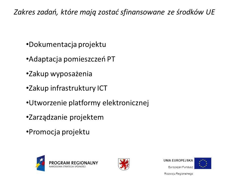Zakres zadań, które mają zostać sfinansowane ze środków UE Dokumentacja projektu Adaptacja pomieszczeń PT Zakup wyposażenia Zakup infrastruktury ICT Utworzenie platformy elektronicznej Zarządzanie projektem Promocja projektu UNIA EUROPEJSKA Europejski Fundusz Rozwoju Regionalnego