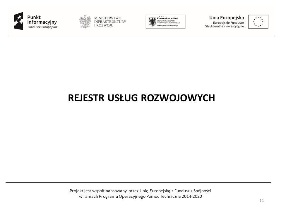 Projekt jest współfinansowany przez Unię Europejską z Funduszu Spójności w ramach Programu Operacyjnego Pomoc Techniczna 2014-2020 15 REJESTR USŁUG ROZWOJOWYCH