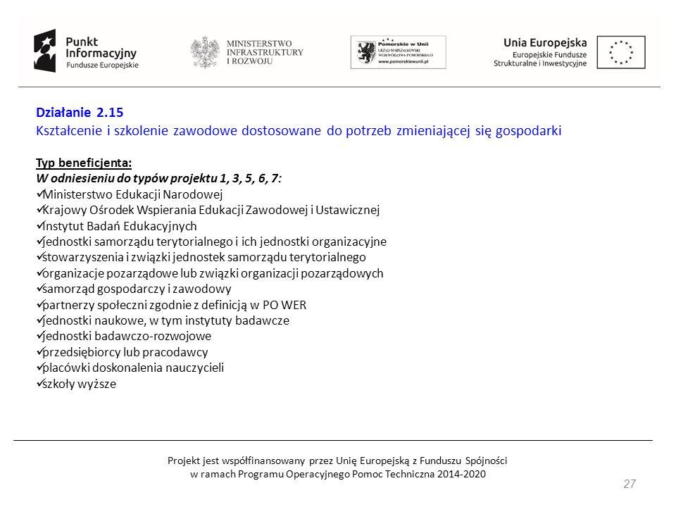 Projekt jest współfinansowany przez Unię Europejską z Funduszu Spójności w ramach Programu Operacyjnego Pomoc Techniczna 2014-2020 27 Działanie 2.15 Kształcenie i szkolenie zawodowe dostosowane do potrzeb zmieniającej się gospodarki Typ beneficjenta: W odniesieniu do typów projektu 1, 3, 5, 6, 7: Ministerstwo Edukacji Narodowej Krajowy Ośrodek Wspierania Edukacji Zawodowej i Ustawicznej Instytut Badań Edukacyjnych jednostki samorządu terytorialnego i ich jednostki organizacyjne stowarzyszenia i związki jednostek samorządu terytorialnego organizacje pozarządowe lub związki organizacji pozarządowych samorząd gospodarczy i zawodowy partnerzy społeczni zgodnie z definicją w PO WER jednostki naukowe, w tym instytuty badawcze jednostki badawczo-rozwojowe przedsiębiorcy lub pracodawcy placówki doskonalenia nauczycieli szkoły wyższe
