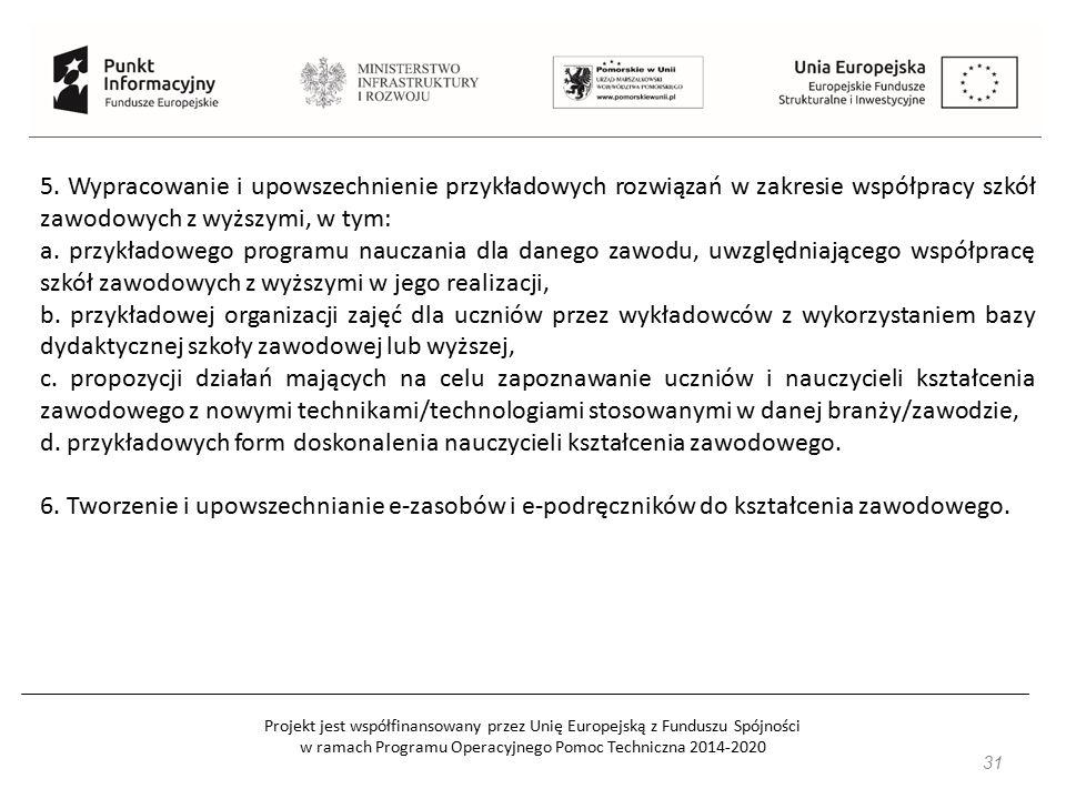 Projekt jest współfinansowany przez Unię Europejską z Funduszu Spójności w ramach Programu Operacyjnego Pomoc Techniczna 2014-2020 31 5. Wypracowanie