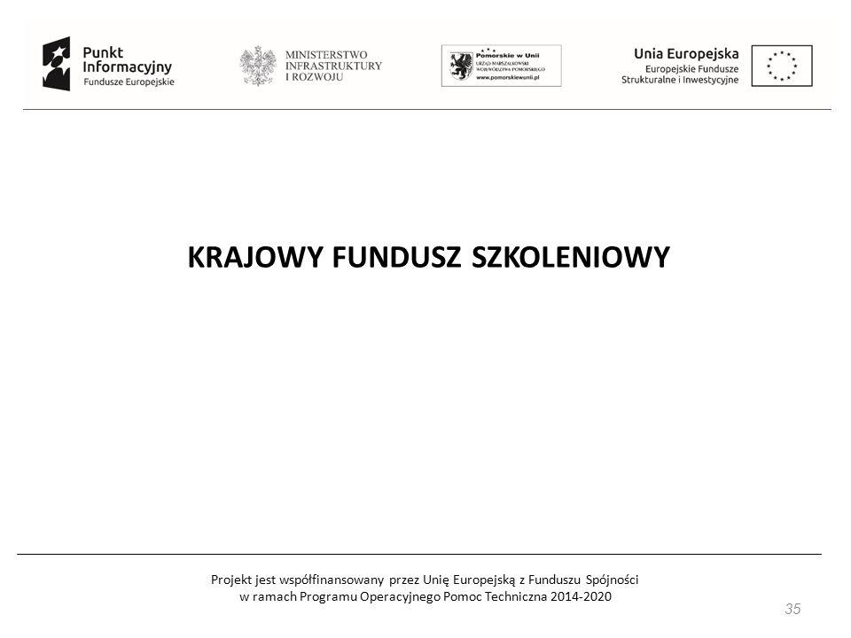 Projekt jest współfinansowany przez Unię Europejską z Funduszu Spójności w ramach Programu Operacyjnego Pomoc Techniczna 2014-2020 35 KRAJOWY FUNDUSZ SZKOLENIOWY