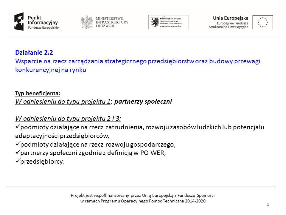9 Działanie 2.2 Wsparcie na rzecz zarządzania strategicznego przedsiębiorstw oraz budowy przewagi konkurencyjnej na rynku Typ beneficjenta: W odniesie