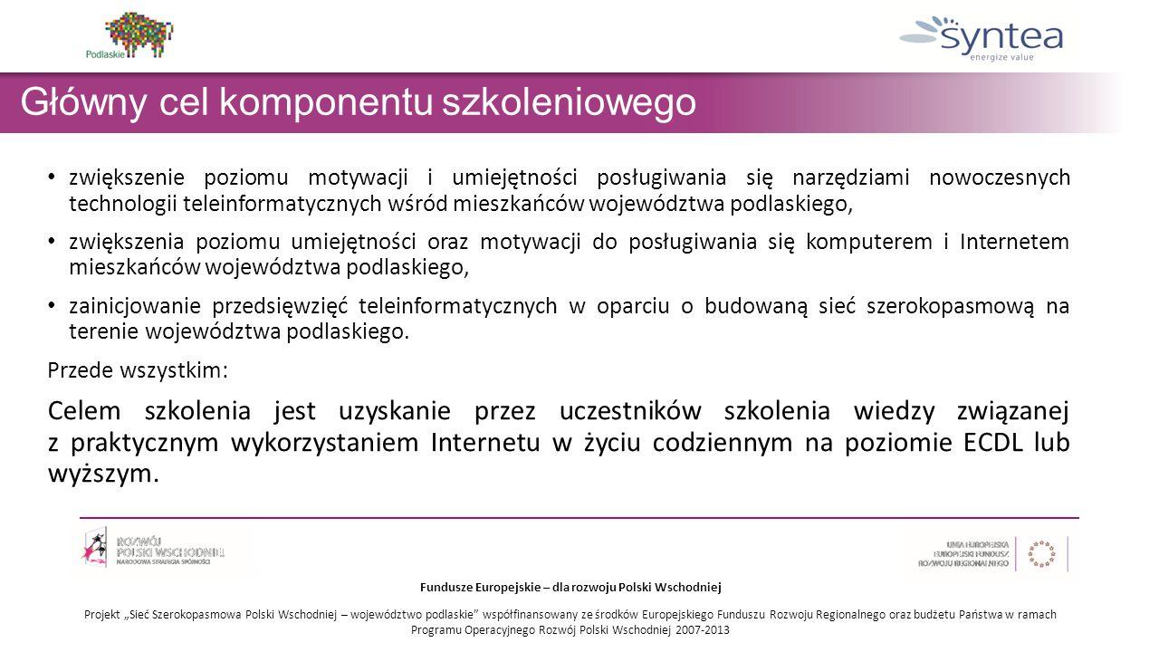 """Fundusze Europejskie – dla rozwoju Polski Wschodniej Projekt """"Sieć Szerokopasmowa Polski Wschodniej – województwo podlaskie współfinansowany ze środków Europejskiego Funduszu Rozwoju Regionalnego oraz budżetu Państwa w ramach Programu Operacyjnego Rozwój Polski Wschodniej 2007-201 3 Główny cel komponentu szkoleniowego zwiększenie poziomu motywacji i umiejętności posługiwania się narzędziami nowoczesnych technologii teleinformatycznych wśród mieszkańców województwa podlaskiego, zwiększenia poziomu umiejętności oraz motywacji do posługiwania się komputerem i Internetem mieszkańców województwa podlaskiego, zainicjowanie przedsięwzięć teleinformatycznych w oparciu o budowaną sieć szerokopasmową na terenie województwa podlaskiego."""