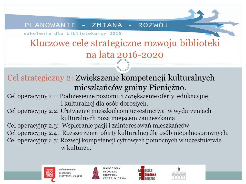 Kluczowe cele strategiczne rozwoju biblioteki na lata 2016-2020 Cel strategiczny 2: Zwiększenie kompetencji kulturalnych mieszkańców gminy Pieniężno.