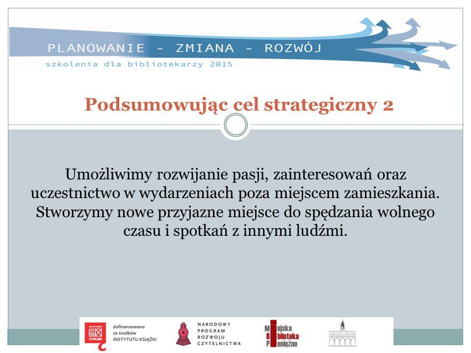 Podsumowując cel strategiczny 2 Umożliwimy rozwijanie pasji, zainteresowań oraz uczestnictwo w wydarzeniach poza miejscem zamieszkania. Stworzymy nowe