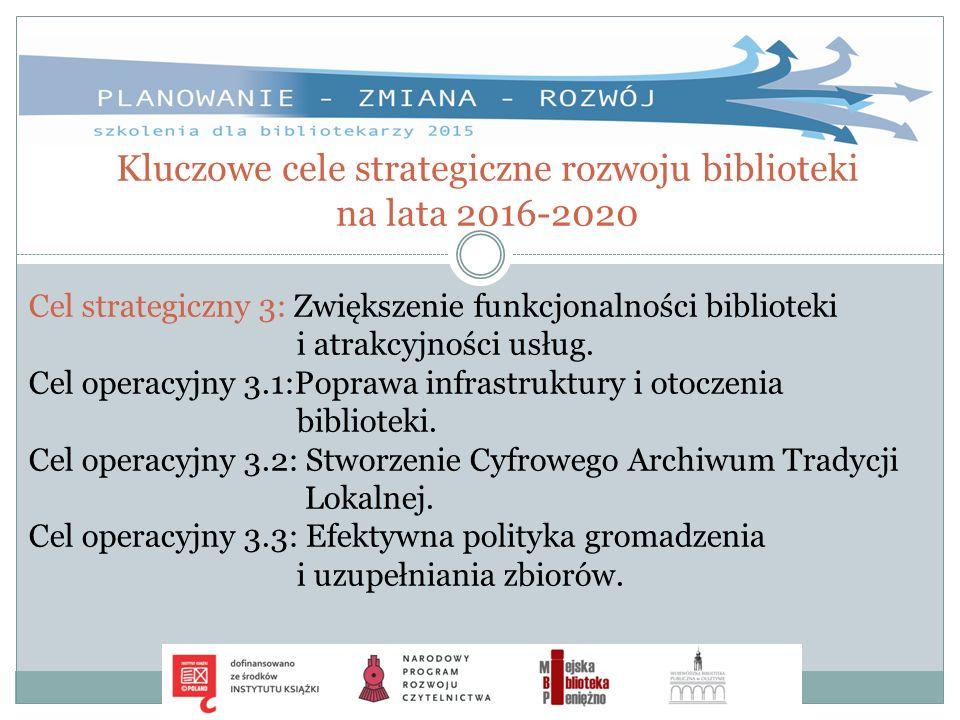 Kluczowe cele strategiczne rozwoju biblioteki na lata 2016-2020 Cel strategiczny 3: Zwiększenie funkcjonalności biblioteki i atrakcyjności usług. Cel