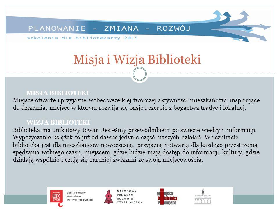 Misja i Wizja Biblioteki MISJA BIBLIOTEKI Miejsce otwarte i przyjazne wobec wszelkiej twórczej aktywności mieszkańców, inspirujące do działania, miejs
