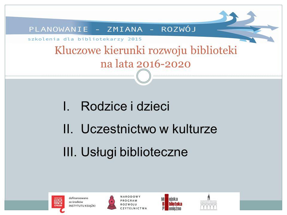 Kluczowe kierunki rozwoju biblioteki na lata 2016-2020 I.Rodzice i dzieci II.Uczestnictwo w kulturze III.Usługi biblioteczne
