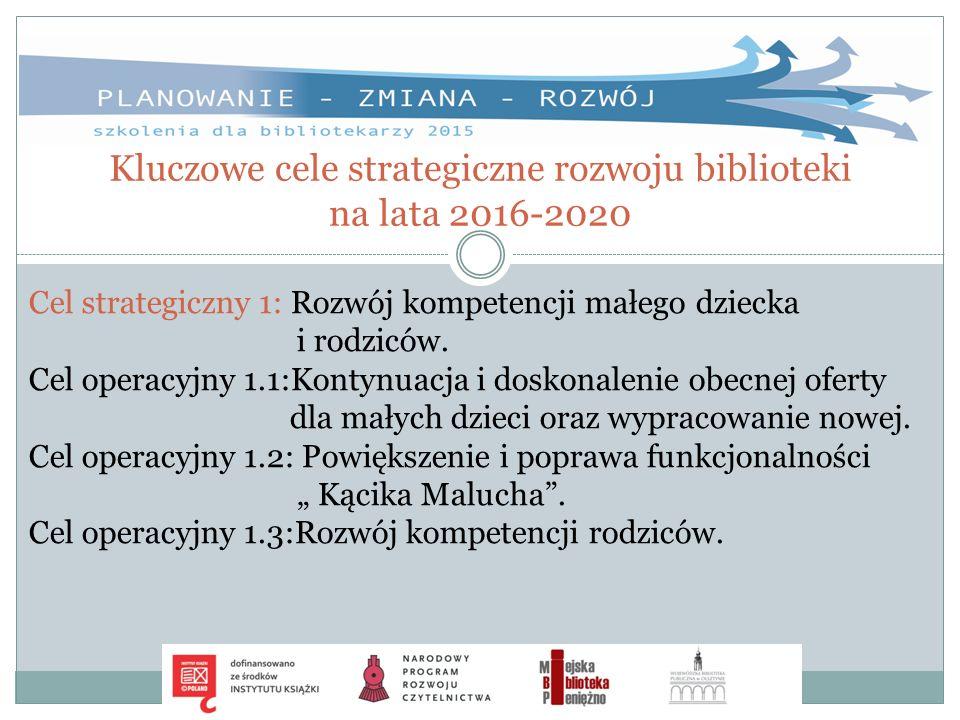 Kluczowe cele strategiczne rozwoju biblioteki na lata 2016-2020 Cel strategiczny 1: Rozwój kompetencji małego dziecka i rodziców. Cel operacyjny 1.1:K
