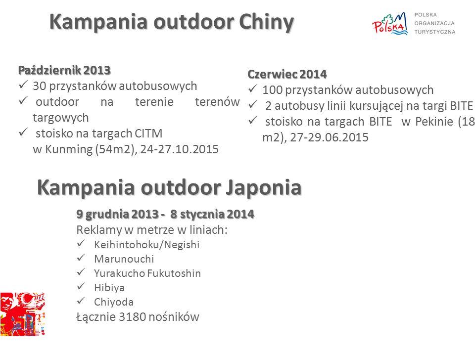 Kampania outdoor Chiny Październik 2013 30 przystanków autobusowych outdoor na terenie terenów targowych stoisko na targach CITM w Kunming (54m2), 24-27.10.2015 Czerwiec 2014 100 przystanków autobusowych 2 autobusy linii kursującej na targi BITE stoisko na targach BITE w Pekinie (18 m2), 27-29.06.2015 Kampania outdoor Japonia 9 grudnia 2013 - 8 stycznia 2014 Reklamy w metrze w liniach: Keihintohoku/Negishi Marunouchi Yurakucho Fukutoshin Hibiya Chiyoda Łącznie 3180 nośników