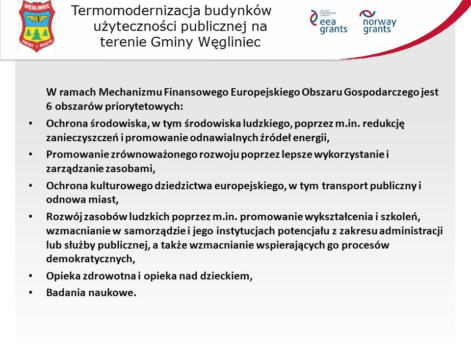 W ramach Mechanizmu Finansowego Europejskiego Obszaru Gospodarczego jest 6 obszarów priorytetowych: Ochrona środowiska, w tym środowiska ludzkiego, po