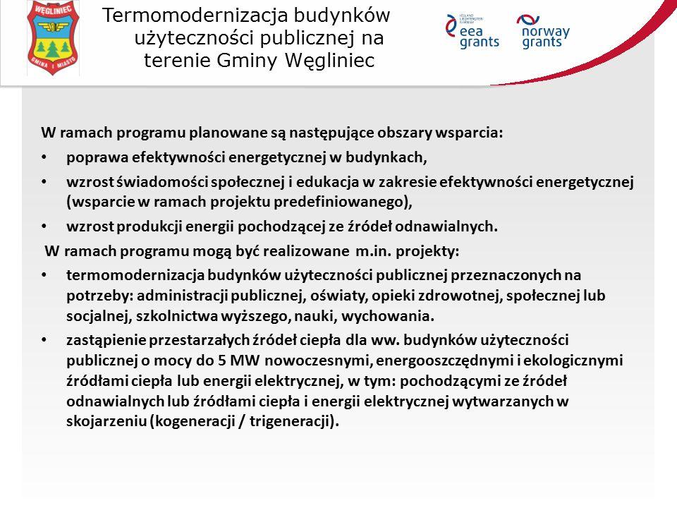 W ramach programu planowane są następujące obszary wsparcia: poprawa efektywności energetycznej w budynkach, wzrost świadomości społecznej i edukacja