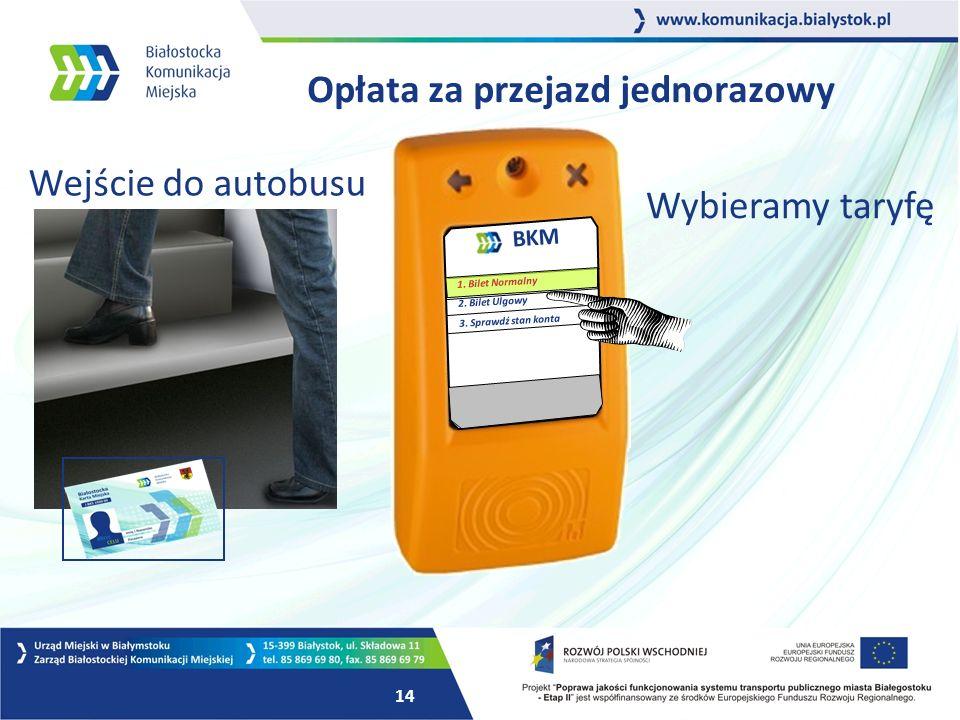 14 Opłata za przejazd jednorazowy BKM 1. Bilet Normalny 2.