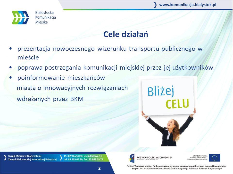 2 Cele działań prezentacja nowoczesnego wizerunku transportu publicznego w mieście poprawa postrzegania komunikacji miejskiej przez jej użytkowników poinformowanie mieszkańców miasta o innowacyjnych rozwiązaniach wdrażanych przez BKM