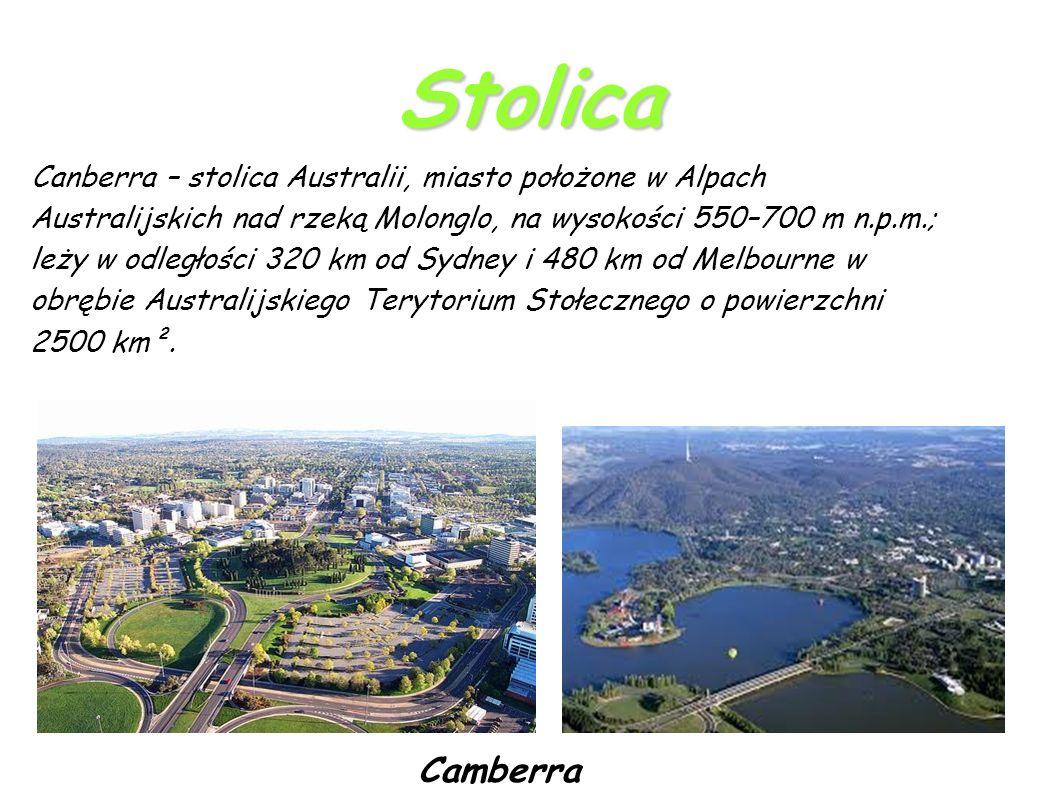 Stolica Canberra – stolica Australii, miasto położone w Alpach Australijskich nad rzeką Molonglo, na wysokości 550–700 m n.p.m.; leży w odległości 320 km od Sydney i 480 km od Melbourne w obrębie Australijskiego Terytorium Stołecznego o powierzchni 2500 km².