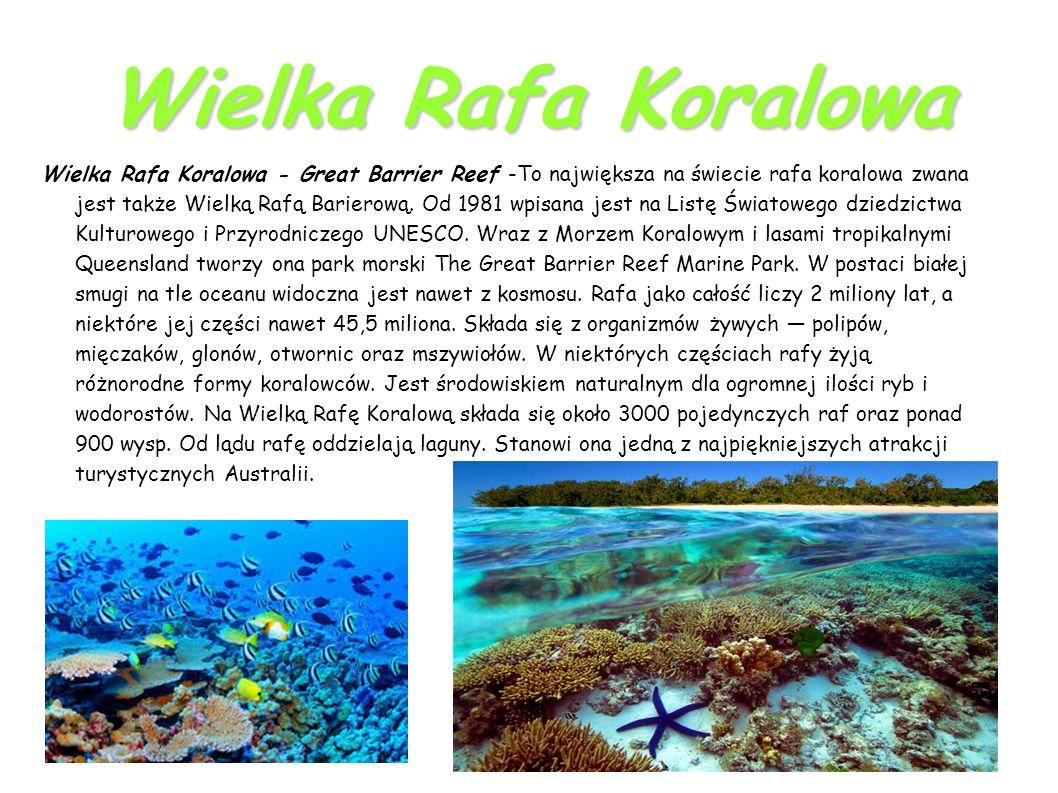 Wielka Rafa Koralowa Wielka Rafa Koralowa - Great Barrier Reef -To największa na świecie rafa koralowa zwana jest także Wielką Rafą Barierową.