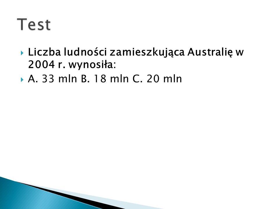  Liczba ludności zamieszkująca Australię w 2004 r. wynosiła:  A. 33 mln B. 18 mln C. 20 mln