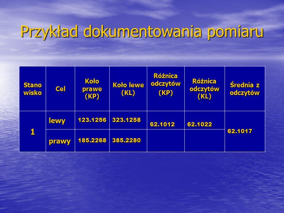 Przykład dokumentowania pomiaru Stano wisko Cel Koło prawe (KP) Koło lewe (KL) Różnica odczytów (KP) Różnica odczytów (KL) Średnia z odczytów 1 lewy12