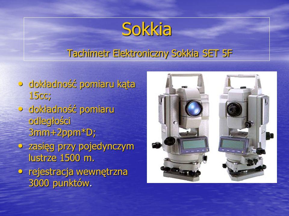 Sokkia Tachimetr Elektroniczny Sokkia SET 5F dokładność pomiaru kąta 15cc; dokładność pomiaru kąta 15cc; dokładność pomiaru odległości 3mm+2ppm*D; dok