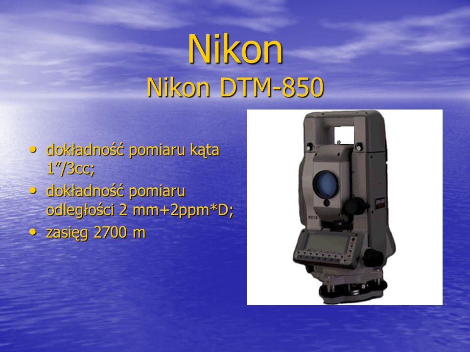 """Nikon Nikon DTM-850 dokładność pomiaru kąta 1""""/3cc; dokładność pomiaru kąta 1""""/3cc; dokładność pomiaru odległości 2 mm+2ppm*D; dokładność pomiaru odle"""