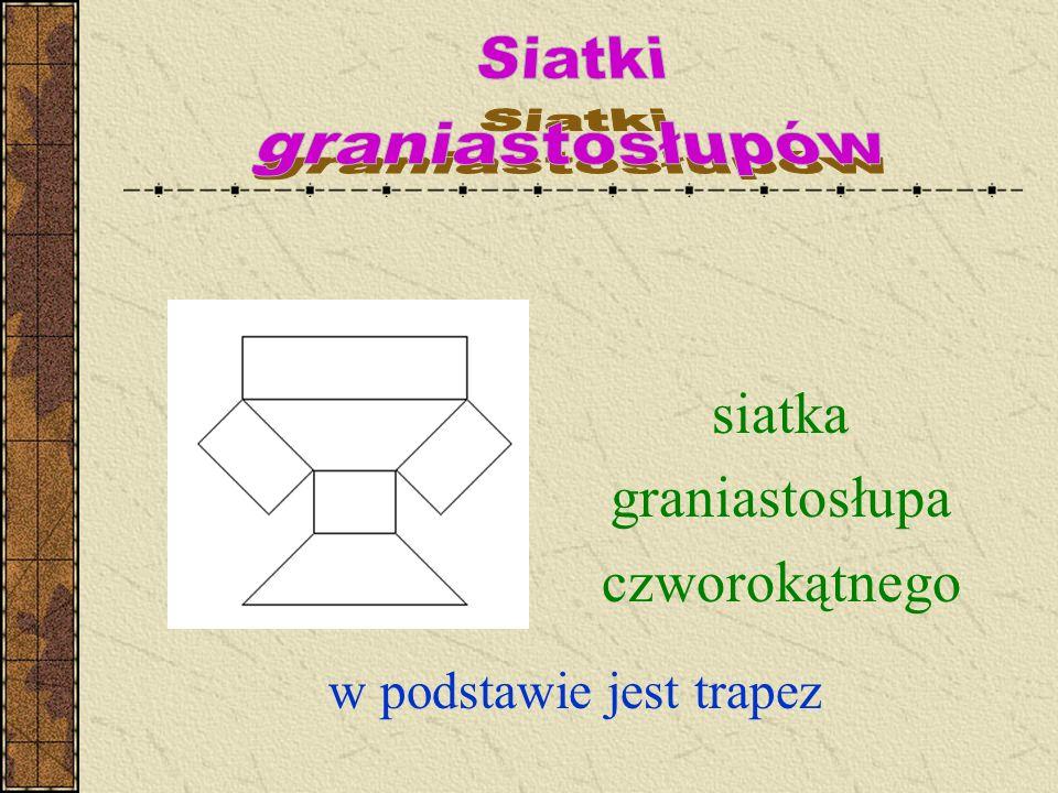 siatka graniastosłupa czworokątnego w podstawie jest trapez