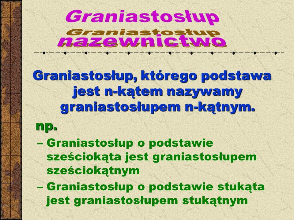 Graniastosłup, którego podstawa jest n-kątem nazywamy graniastosłupem n-kątnym. np. np. –Graniastosłup o podstawie sześciokąta jest graniastosłupem sz