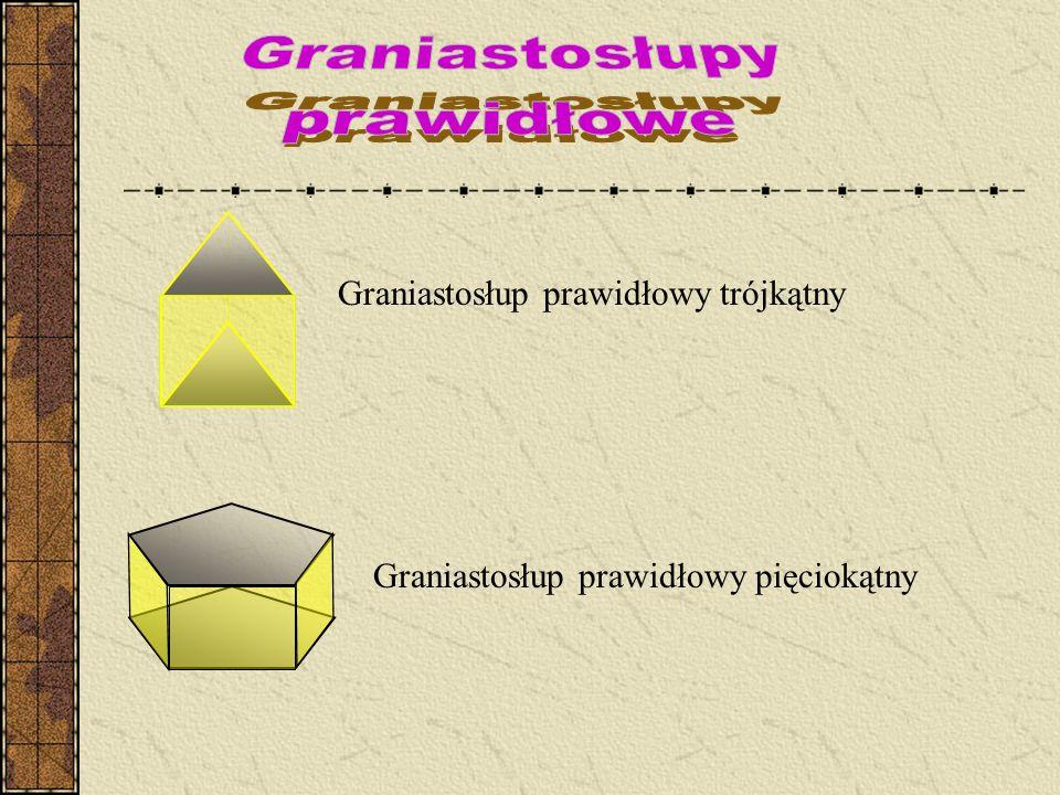 Graniastosłup prawidłowy trójkątny Graniastosłup prawidłowy pięciokątny