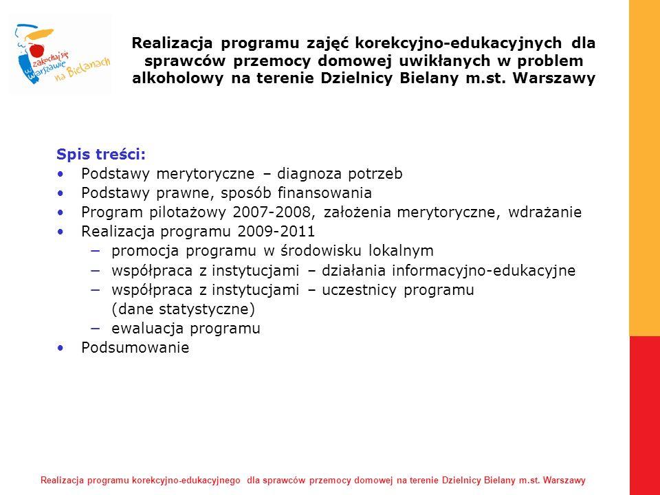 Realizacja programu korekcyjno-edukacyjnego dla sprawców przemocy domowej na terenie Dzielnicy Bielany m.st.
