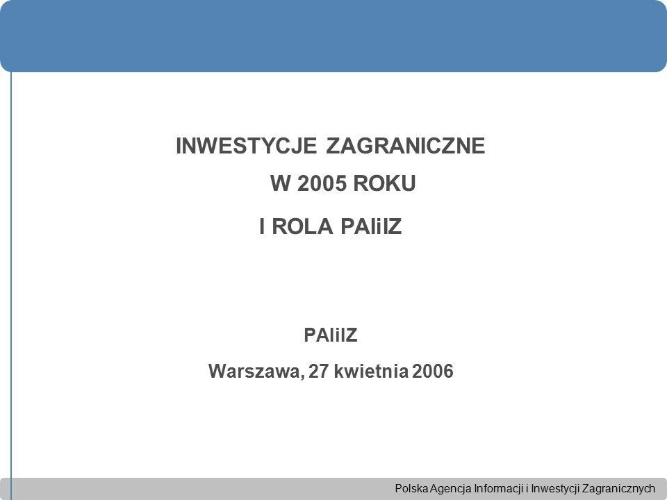 Polska Agencja Informacji i Inwestycji Zagranicznych INWESTYCJE ZAGRANICZNE W 2005 ROKU I ROLA PAIiIZ PAIiIZ Warszawa, 27 kwietnia 2006