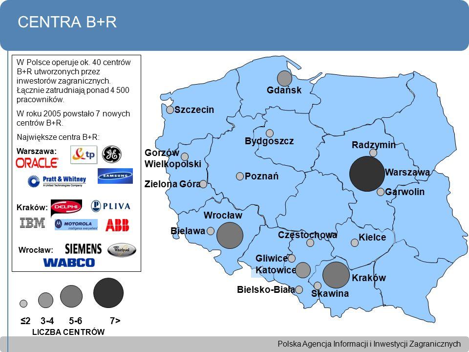 Polska Agencja Informacji i Inwestycji Zagranicznych CENTRA B+R p ≤2 3-4 5-6 7> Wrocław Szczecin Bydgoszcz Gdańsk Warszawa Kraków Poznań Katowice Kiel