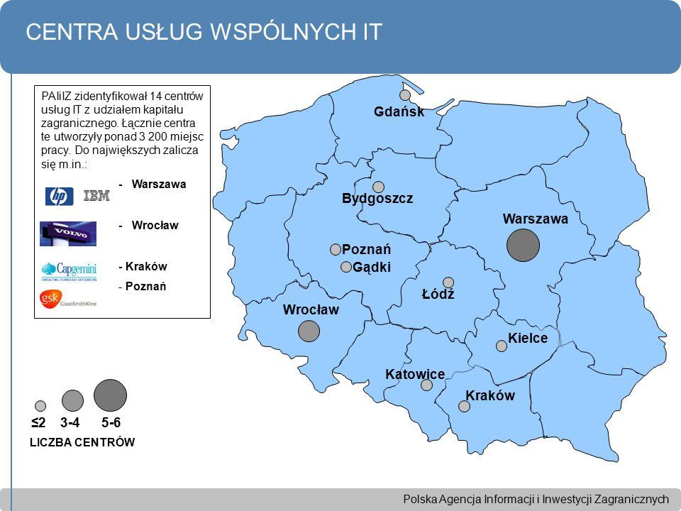 Polska Agencja Informacji i Inwestycji Zagranicznych CENTRA USŁUG WSPÓLNYCH IT ≤2 3-4 5-6 Wrocław Bydgoszcz Gdańsk Warszawa Kraków Poznań Katowice Kie