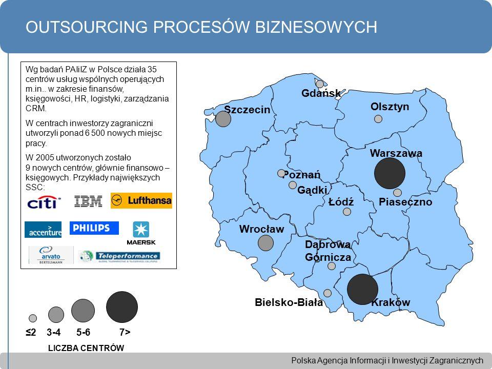 Polska Agencja Informacji i Inwestycji Zagranicznych OUTSOURCING PROCESÓW BIZNESOWYCH Wrocław Szczecin Gdańsk Warszawa Kraków Poznań Łódź Olsztyn ≤2 3