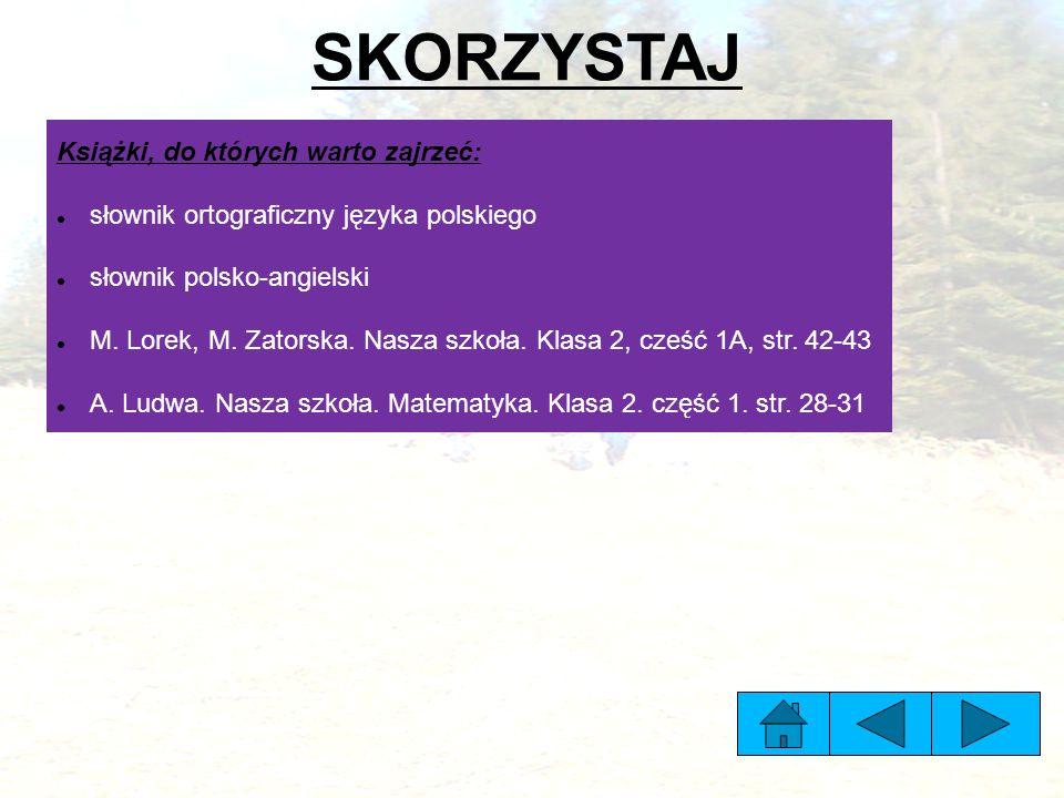 SKORZYSTAJ Książki, do których warto zajrzeć: słownik ortograficzny języka polskiego słownik polsko-angielski M.