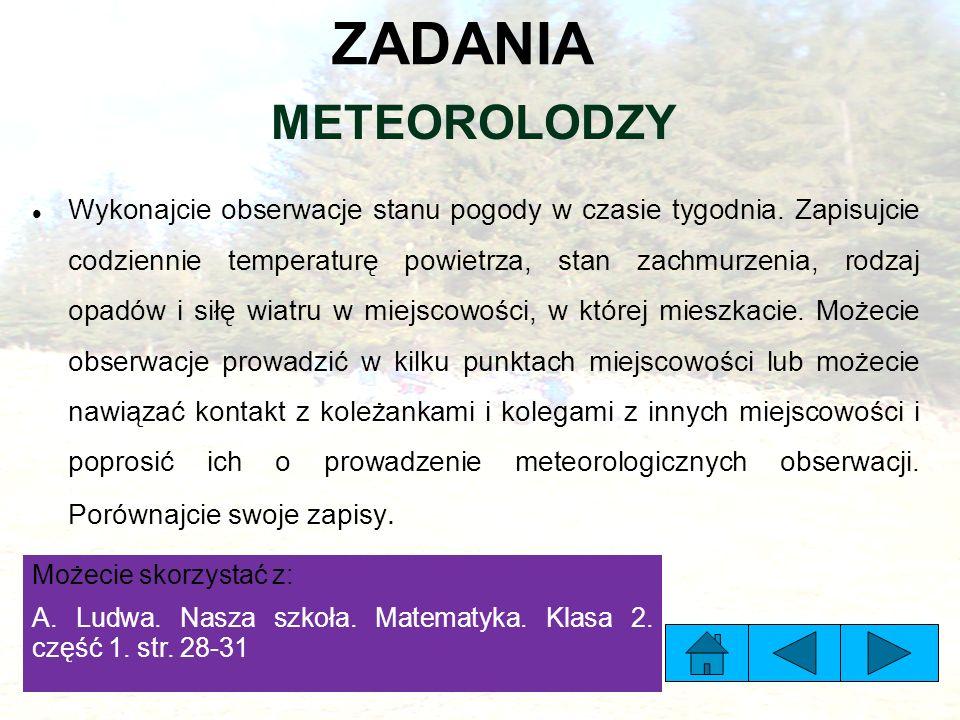 ZADANIA METEOROLODZY Wykonajcie obserwacje stanu pogody w czasie tygodnia.
