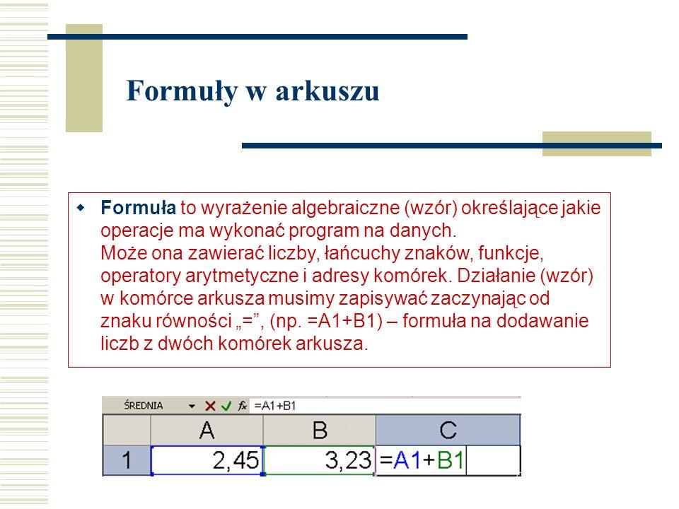  Formuła to wyrażenie algebraiczne (wzór) określające jakie operacje ma wykonać program na danych.
