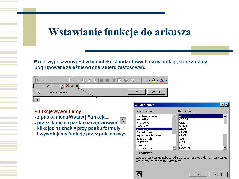 Wstawianie funkcje do arkusza Excel wyposażony jest w bibliotekę standardowych nazw funkcji, które zostały pogrupowane zależnie od charakteru zastosowań.