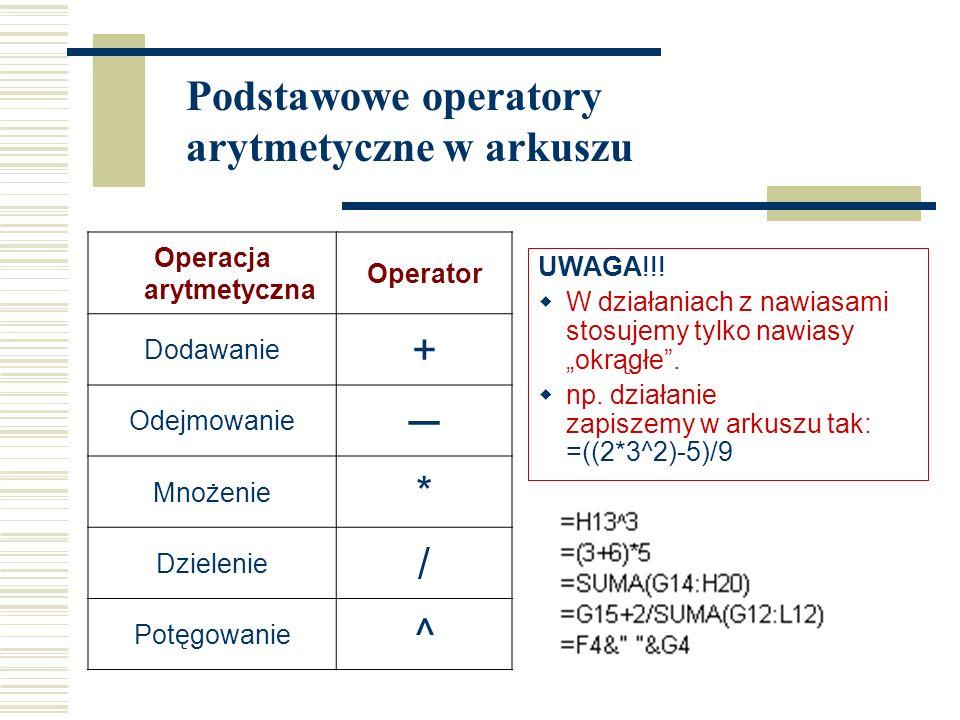 Operacja arytmetyczna Operator Dodawanie + Odejmowanie ─ Mnożenie * Dzielenie / Potęgowanie ^ UWAGA!!.