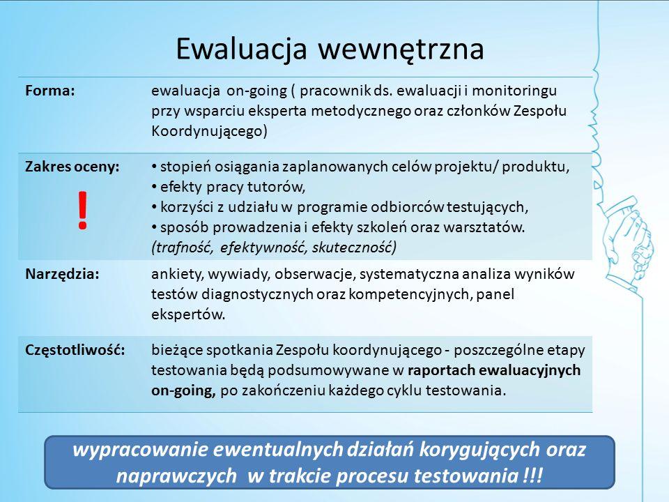 Ewaluacja wewnętrzna Forma:ewaluacja on-going ( pracownik ds.