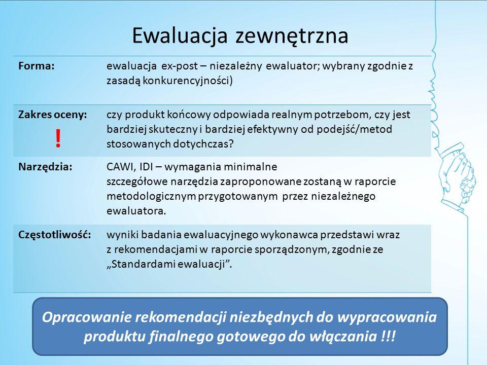 Ewaluacja zewnętrzna Forma:ewaluacja ex-post – niezależny ewaluator; wybrany zgodnie z zasadą konkurencyjności) Zakres oceny: .