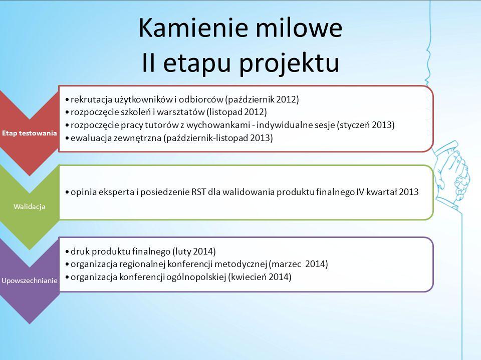 Kamienie milowe II etapu projektu Etap testowania rekrutacja użytkowników i odbiorców (październik 2012) rozpoczęcie szkoleń i warsztatów (listopad 2012) rozpoczęcie pracy tutorów z wychowankami - indywidualne sesje (styczeń 2013) ewaluacja zewnętrzna (październik-listopad 2013) Walidacja opinia eksperta i posiedzenie RST dla walidowania produktu finalnego IV kwartał 2013 Upowszechnianie druk produktu finalnego (luty 2014) organizacja regionalnej konferencji metodycznej (marzec 2014) organizacja konferencji ogólnopolskiej (kwiecień 2014)