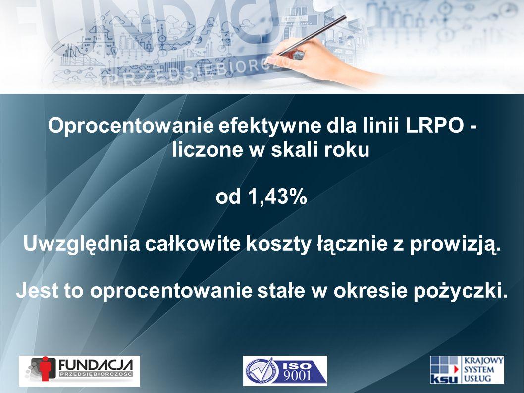 Oprocentowanie efektywne dla linii LRPO - liczone w skali roku od 1,43% Uwzględnia całkowite koszty łącznie z prowizją.