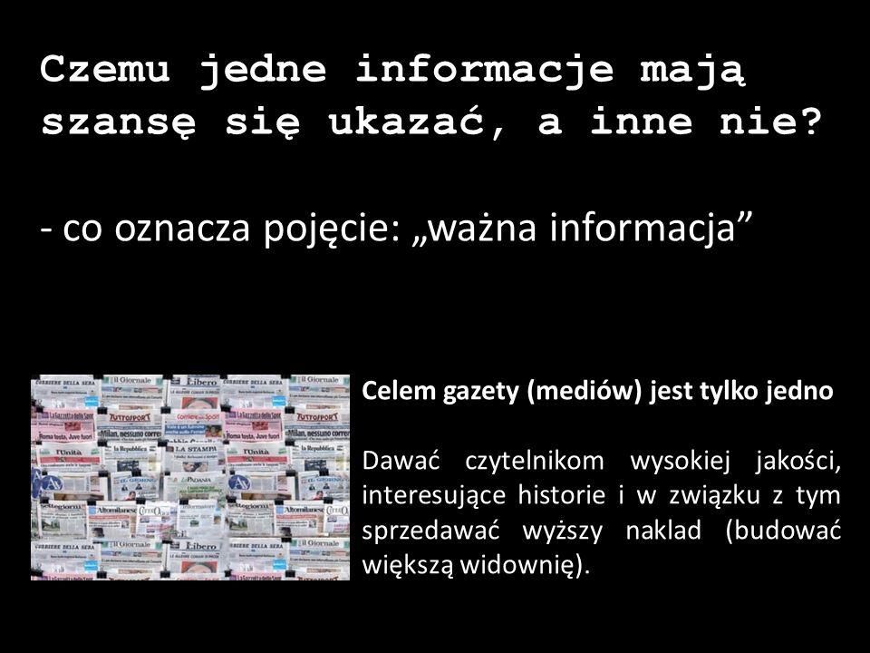 """Czemu jedne informacje mają szansę się ukazać, a inne nie? - co oznacza pojęcie: """"ważna informacja"""" Celem gazety (mediów) jest tylko jedno Dawać czyte"""