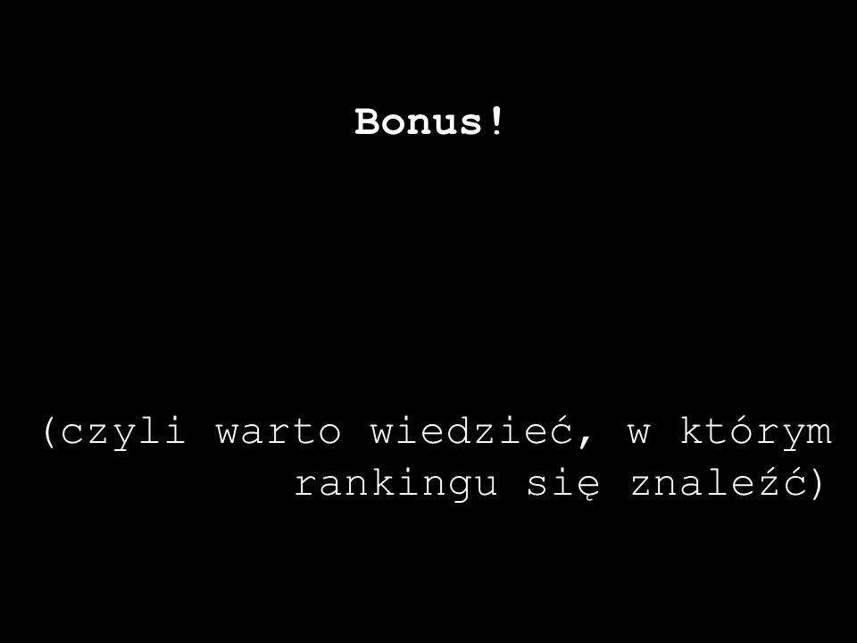Bonus! (czyli warto wiedzieć, w którym rankingu się znaleźć)