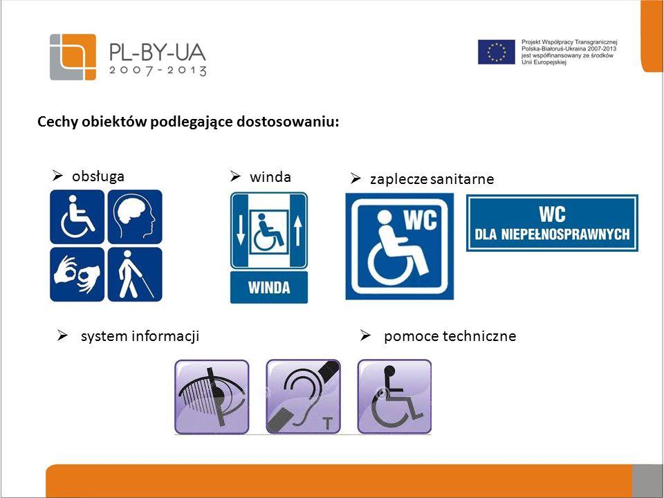 Cechy obiektów podlegające dostosowaniu:  system informacji  obsługa  winda  zaplecze sanitarne  pomoce techniczne