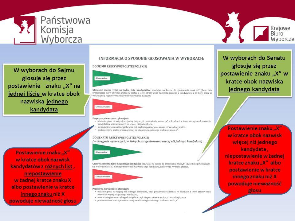 """W wyborach do Sejmu głosuje się przez postawienie znaku """"X na jednej liście w kratce obok nazwiska jednego kandydata W wyborach do Senatu głosuje się przez postawienie znaku """"X w kratce obok nazwiska jednego kandydata Postawienie znaku """"X w kratce obok nazwisk więcej niż jednego kandydata, niepostawienie w żadnej kratce znaku """"X albo postawienie w kratce innego znaku niż X powoduje nieważność głosu Postawienie znaku """"X w kratce obok nazwisk kandydatów z różnych list, niepostawienie w żadnej kratce znaku X albo postawienie w kratce innego znaku niż X powoduje nieważność głosu"""
